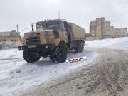 حضور خودروهای ویژه ارتش،پادگان امام رضای مراغه جهت کمک رسانی به مردم